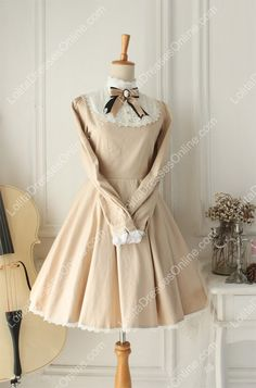 Champagne Vintage Cotton Doll Collar Long Sleeves Classic Lolita Dress
