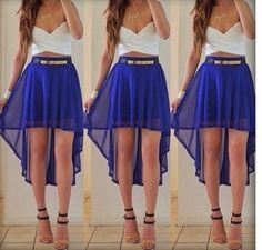 Sheer blue high low skirt - White criss cross crop top - Gold metal plate belt and gold necklace - Summer outfit