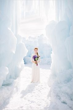 Captured in the incredible ice castles of Midway, Utah this Frozen wedding inspiration will have you wishing for your own ice palace wedding. Enjoy, and try not to break out in song! Frozen Wedding Theme, Snow Wedding, Winter Wonderland Wedding, Dream Wedding, Christmas Wedding, Luxury Wedding, Frozen Theme, Purple Wedding, Gold Wedding