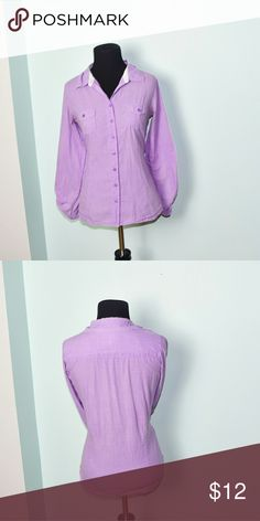 Adorable Lavender Colored Button Down Shirt In excellent condition! Very comfortable, soft, and flattering! Buy 3 items and get 1 free plus 15% off your purchase total! Tops Button Down Shirts