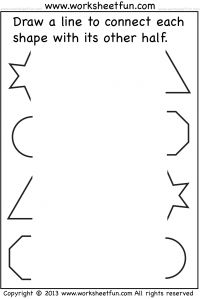 Connect other half – Star, Triangle, Circle, Octagon – One Worksheet / FREE Printable Worksheets – Worksheetfun Shapes Worksheet Kindergarten, Printable Preschool Worksheets, Free Preschool, Preschool Learning, Worksheets For Kids, Preschool Activities, Matching Worksheets, Free Math, Preschool Kindergarten