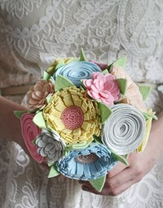 Felt Bouquet  Wedding Bouquet  Custom  Pastel by SugarSnapBoutique, $135.00  DUMB ! Don't have a felt bouquet, I'll help you make one but I'll judge you and make fun of you ;)