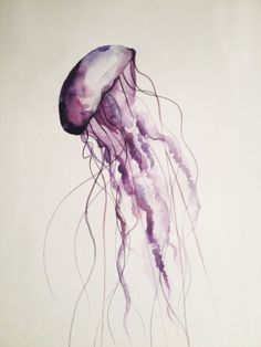 MADE TO ORDER Jellyfish Watercolor Painting, Original By Renée W. Levin via Etsy -maybe add streaks/dots of bright color