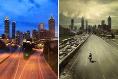 'The walking dead' | La ciudad de Atlanta es territorio zombie. Allí transcurre parte de la serie 'The walking dead'. Muchos vecinos de la ciudad participan como extras en la serie, y algunos de ellos se han transformado en guías de un recorrido que lleva a los visitantes por los escenarios reales de la ficción televisiva. En la imagen, el 'skyline' de la capital del estado de Georgia en la vida real, a la izquierda, y en su versión televisiva, a la derecha.| RICHARD CUMMINS / AMC