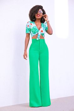 Print Tie Front Crop Top + High Waist Wide Leg Pants