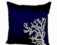 Decorative pillow white coral on navy blue silk in beads, Oceanic pillow covers, Navy Blue pillows, Navy Blue Pillows, Teal Throw Pillows, Nautical Pillows, White Pillows, Accent Pillows, Decorative Pillow Covers, Decorative Throw Pillows, Couch Pillow Covers, Sequin Pillow