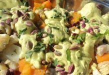 Χειμωνιάτικη Σαλάτα με Βραστά λαχανικά, σερβιρσμένη με πέστο βασιλικού και σελινόριζα