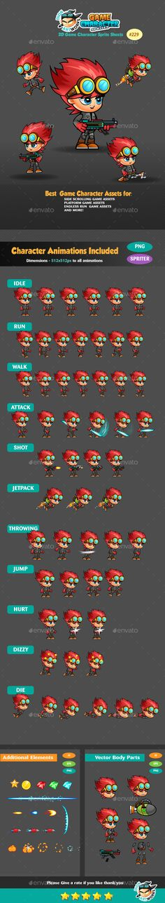 2D Game Character Sprites 229 — Vector EPS #side scroller #ios • Available here → https://graphicriver.net/item/2d-game-character-sprites-229/16807475?ref=pxcr