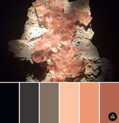una paleta de colores inspirada en la fluorita // negro, gris, piedra, melocotón