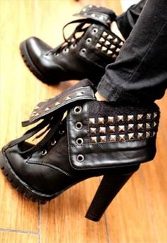 Stylish Black Rivet Rocker Chic High Heel Boots- Coco Couture Boutique-
