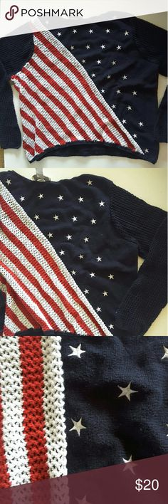 Norton American flag sweater Open knit exempt were the stars are 25 inches from armpit to armpit 22 inches from shoulder to bottom of sweater Norton studio  Sweaters