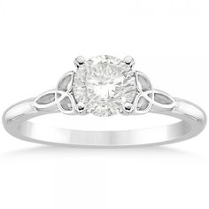 Allurez Celtic Love Knot Solitaire Engagement Ring Setting 14k White... ($740) ❤ liked on Polyvore featuring jewelry, rings, round engagement rings, celtic love knot ring, celtic rings, white gold rings and heart engagement rings