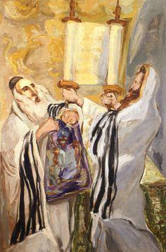 Unrolling the Torah - oil painting by Mané-Katz - 1938