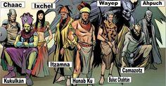 Mayan Gods / Deities - Chaac (god of rain & lightning), Gucumatz/Kukulkán (god of the wind), Ixchel (goddess of the moon), Itzamna (god of the sun), Hunab Ku (god of the sky), Wayeb (god of mischief), Buluc Chabtán (god of war), Camazotz (god of darkness), Ahpuch (god of the dead