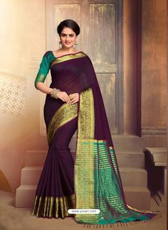 Dark Purple Cotton Silk Saree With Blouse 134990 Indian Beauty Saree, Indian Sarees, Silk Sarees, Saris, Party Wear Sarees, Saree Styles, Indian Ethnic Wear, Blouse Online, Indian Designer Wear