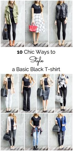 This is GENIUS! How to style a black T-shirt 10 really chic ways.