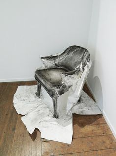 Chairs # 2,3,4+5, three-dimensional drawings (charcoal on paper) by Australian artist Trudy Moore.