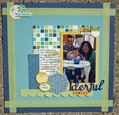 what I noticed first about this is the green border - use either washi or paper. But then I also like the 4 cards behind the 1 photo