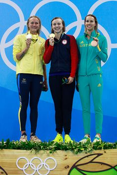 #RIO2016 Silver medalist Sarah Sjostrom of Sweden gold medalist Katie Ledecky of the United States and brone medalist Emma McKeon of Australia pose on the...