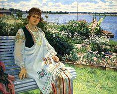 Spring. Portrait of Lady I.Baumane, 1924 by Nikolay Bogdanov-Belsky. Realism. portrait