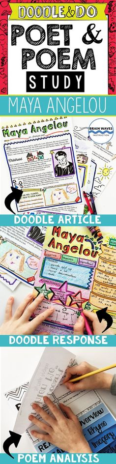"""Help students learn about Maya Angelou and analyze her poem, """"Life Doesn't Frighten Me,"""" with this incredibly engaging """"Doodle and Do"""" resource. Designed with doodling, interaction, and creativity in mind, you'll find a Doodle Article about Angelou, Doodle Notes to respond to the nonfiction passage, and an interactive poetry flip book in this resource. It's fun, educational, and a perfect way to study poetry in the classroom!"""