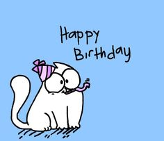she's a friend character: simon's cat art: me Friend Hanilet's birthday Free Happy Birthday Cards, Happy Birthday Quotes, Happy Birthday Images, Happy Birthday Greetings, Birthday Messages, Birthday Pictures, Birthday Greeting Cards, Simons Cat, Happy Bird Day