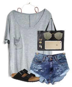 """""""a day at the pool"""" by tessorastefan ❤ liked on Polyvore featuring J.Crew, Birkenstock, Madewell, Kendra Scott, Cartier, Devon Pavlovits and Ray-Ban"""