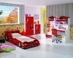 Kids Bedroom, Cool Kids Room Layout Featured Car Shaped Bed Design Plus Strawberry Rug And Unique Wallpaper Idea ~ Cool Kids Room Layout in Kiddy Bedroom
