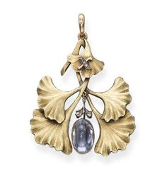 An Antique 'Gingko Leaf' Sapphire Pendant, by Fabergé  Designed as a gingko sprig suspending a sugarloaf sapphire with rose-cut diamond detail, the letter 'X' applied to the surmount, circa 1900