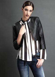 Camisa de rayas verticales blanco negro boutique- ITALIA