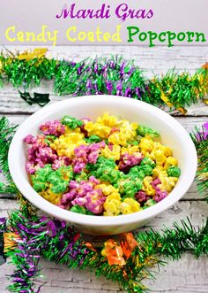 Life With 4 Boys: Mardi Gras Candy Coated Popcorn#c2686244559577501088 (40th birthday appetizers)