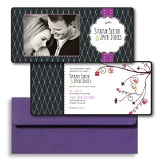 Purple Wedding Invitations, Photo Wedding Invitations