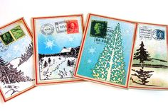 Winter Gift Tags Set of  6 Winter Scenes On Postal by SiriusFun
