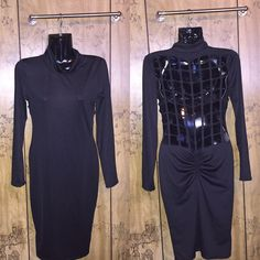 Sexy black dress All black SEXY long sleeve dress. Collar neck, see through square cut out in the back. Cut outs goes all the way down back, scrunch on lower back. Size small, minimum stretch. In great condition, tags removed!  Dresses Long Sleeve