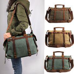 VC Canvas Men Messenger Bag Women Leather Shoulder Handbag Laptop Bag Cross Body