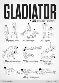 Gladiator Workout-great body weight workout for home! Fitness Gym, Sport Fitness, Body Fitness, Fitness Motivation, Extreme Fitness, Health Fitness, Gym Workouts, At Home Workouts, Workout Tips
