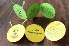 gebastelte Raupen Einladungskarten in Gelb und Grün