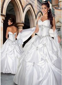 Ball-Gown V-neck Floor-Length Taffeta Quinceanera Dress With Ruffle Lace Beading Sequins