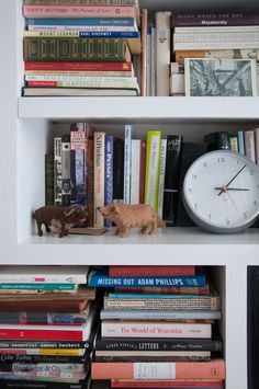 At Home with Maira Kalman | Design*Sponge  ///   Detail from Maira's bedroom shelves: A prototype for an M&Co clock stands next to stuffed dogs handmade made by Phoebe Wahl.