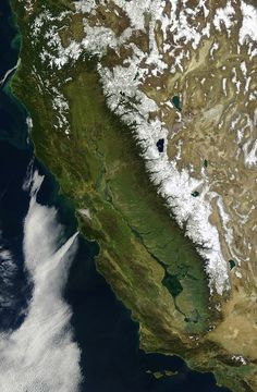 """""""satellite image of California, taken in Both the map and the backstory were created by Mark Clark, a geographer who lives in California's Central Valley Images Of California, Alta California, California Dates, California Funny, Stockton California, California History, Central California, Northern California, Satellite Maps"""