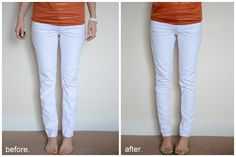 Merricks Art: Refashion. How to: make your skinny jeans skinnier in the calves. I need this for my chicken legs