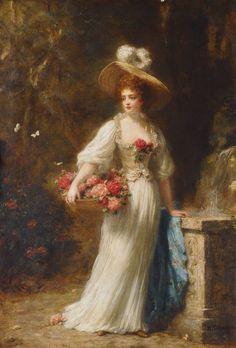 Lady with Rose Basket, Hermann Schmiechen. Germany (1855 - 1911)