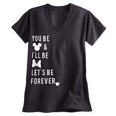 Mickey and Minnie Mouse Icon Text Tee for Women