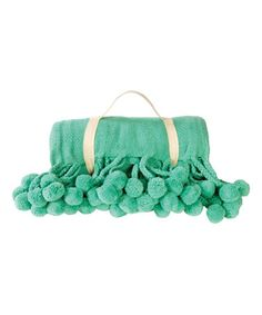 Look what I found on #zulily! Teal Pom Pom Blanket #zulilyfinds
