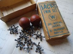 """Vintage game of """"JACKS"""". All little girls knew how to play."""