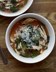 Chicken-Rice Soup with Prosciutto-Basil Broth
