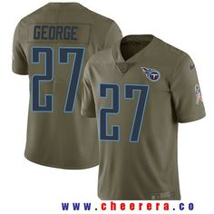 Men's Tennessee Titans #27 Eddie George Olive 2017 Salute To Service Stitched NFL Nike Limited Jersey