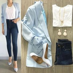 30 Catchy Blue Work Outfit Ideas ~ Fashion & Design - - Outfits for Work Casual Work Outfits, Business Casual Outfits, Professional Outfits, Mode Outfits, Office Outfits, Chic Outfits, Trendy Outfits, Winter Outfits, Outfit Work