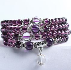 These beads work to purify your space of negative vibrations, emanating an energy dial for you to meditate in ~ Amethyst stimulates the crown chakra and calms your thoughts ~ healing properties help to clear your body's energy field for all negative energies and influences ~ bead size: 6mm