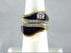 bernard k passman jewelry | Bernard K Passman Riverwalk Black Coral 18 KT Yellow Gold Diamond Ring ...